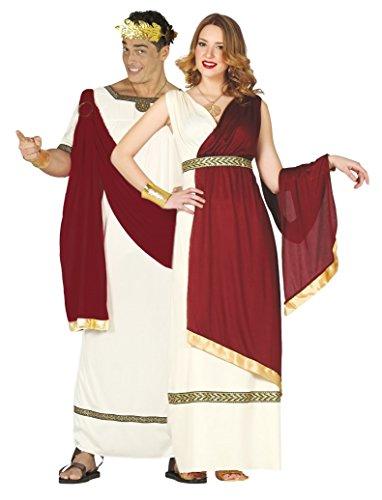 (Paare Damen & Herren Roman rot/weiß Toga Antike Kaiser Augustus Caesar Kaiserin Fancy Dress Kostüm Outfits)