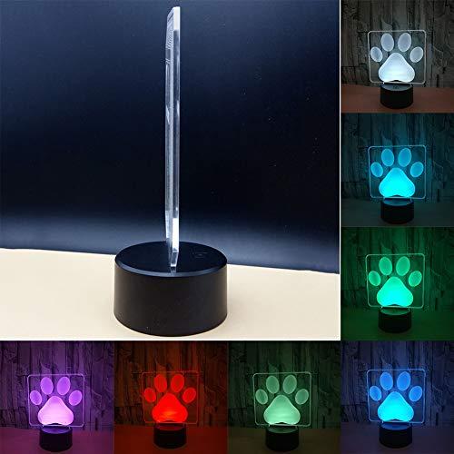 Goodtimes28 Empreinte Patte de Chien 3D Lampe de Table LED 7 Couleur USB lumière de Nuit Chambre à Coucher Décor Cadeau