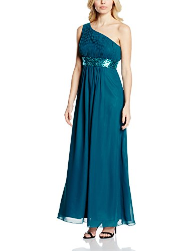 Astrapahl Damen Kleid One Shoulder mit Pailletten, Maxi, Einfarbig, Gr. 46, Türkis