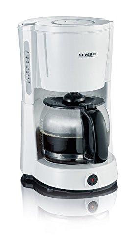 SEVERIN Kaffeemaschine, Für gemahlenen Filterkaffee, 10 Tassen, Inkl. Glaskanne, KA 4497, Weiß/Schwarz -