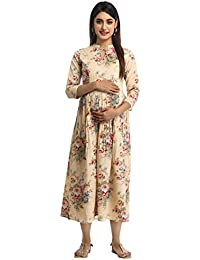 ANAYNA Women's Cotton Floral Printed Long Maternity Dress