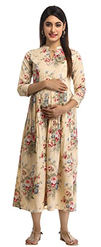 ANAYNA Women's Cotton Kurta, Medium (Beige)