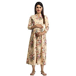 ANAYNA Women's Cotton Floral Printed Long Maternity Dress/Easy Breast Feeding/Breastfeeding Kurti/Ethnic Dress with…