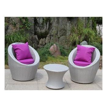 Salon de jardin TOTEM 3 pièces gris sidéral et fuschia DCB Groupe ...
