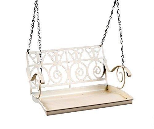 Garden mile® White French Shabby Chic Garden Bench Swing Seat Bird Feeder Garden Decoration Bird Table Seed Nut Suet… 3