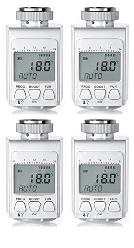 CSL - 4 x digitales Heizkörperthermostat - bis zu 30 Prozent Heizkosten Ersparnis - Radiator Thermostat Regler - intelligenter Eco Boost-Modus