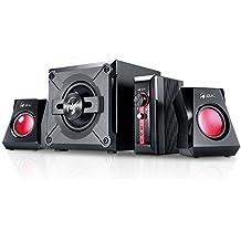 Genius SW-G2.1 1250 - Sistema de altavoces (38 W, subwoofer, unidad de control), color negro y rojo