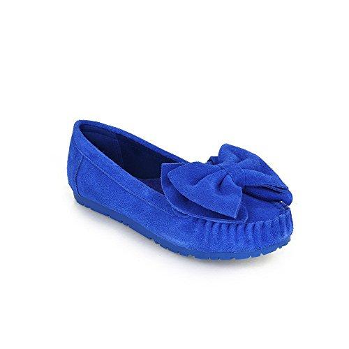 VogueZone009 Donna Punta Tonda Tirare Pelle Di Mucca Puro Senza Tacco Ballerine Azzurro
