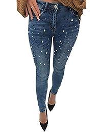 Tinta Con 20 Unita Bottone Jeans Perle Anni Pantalone Donna Skinny Outdoor Elasticizzato Tasche XwZOPulkiT