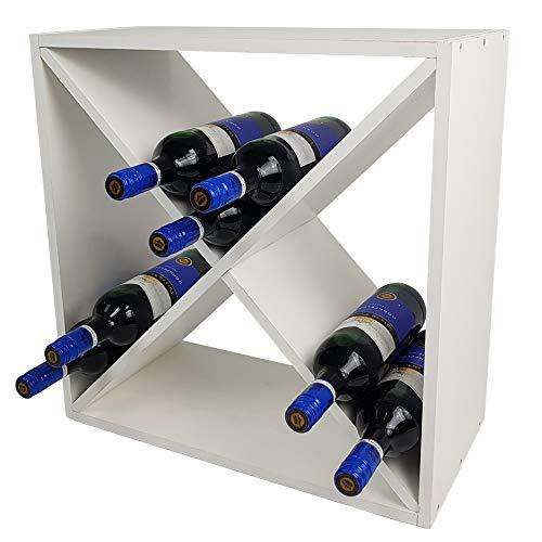 SunDeluxe Weinregal Bacchus X-Cube - Flaschenregal 52 x 52 x 25 cm mit X-Form - Weinständer für...