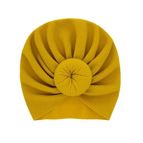 CCIKun 12 Farben Baby Hut, Babymütze Boho Baby Jungen Mädchen Cap Indien Hut reizenden weichen Hut Stretch Turban Kopf Wrap Cap für 0-2 Jahre(Gelb,Einheitsgröße)