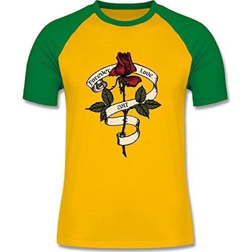 Rockabilly - Forever Love 2017 - zweifarbiges Baseballshirt für Männer Gelb/Grün