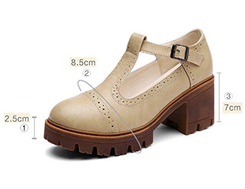 Donna Tacchi colore Fondo 38 Casuali Asc Formato Donne Stile Unico Da Britannico Alti Spesso Beige Primavera Kaki Scarpe Studentessa Ew6wPxqR