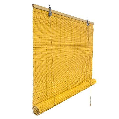 Victoria M. Bambusrollo Blickdicht 120 x 160 cm, Hochwertiges Fenster-Rollo Bambus für Innen, Praktisches Sonnenschutz und Sichtschutz Rollo Seitenzugrollo für Fenster und Türen in Bambus