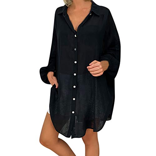 kolila Damen Leinenhemd Tunika Plus Size Loose Button Down Revers Lässige Langarmshirts Tops Oberteile Shirt Bluse -