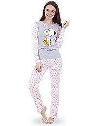Snoopy - Conjunto de pijama Snoopy de manga larga para mujer Pijama de Mickey o de