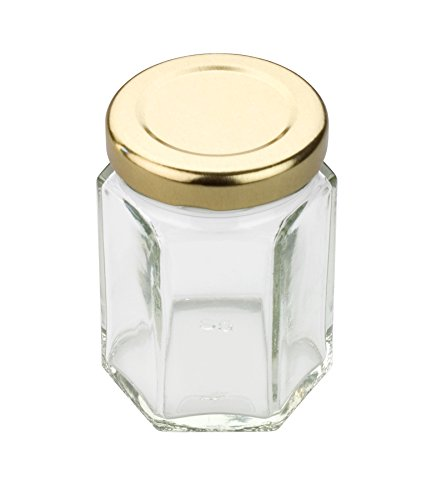 Tala 55ml Sechskant Einmachglas mit goldfarbenem Schraubdeckel, transparent (Food Container Mit Schraubdeckel)