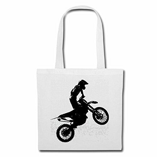 """Preisvergleich Produktbild Tasche Umhängetasche """"MOTOCROSS SILHOUETTE 125CCM MOTO-CROSS FREESTYLE MOTOCROSS MOTORRAD SPORT BEKLEIDUNG BIKER MOTORRAD BIKE MASCHINE"""" Einkaufstasche Schulbeutel Turnbeutel in Weiß"""