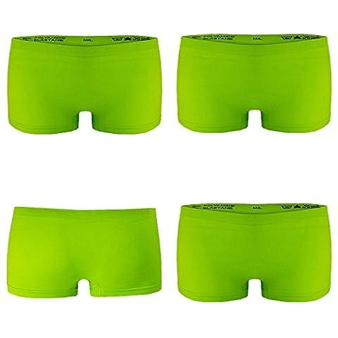 4er Pack Damen Boxershorts Panties in Apfelgrün GR. L/XL Unterwäsche Hot Pants