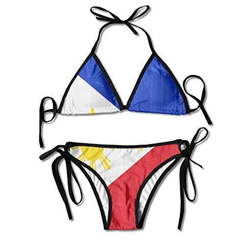 Duang Philippines Flag Wood Women's Sexy Bikini Set Swimsuit Bathing Suit Halterneck Triangle Swimwear
