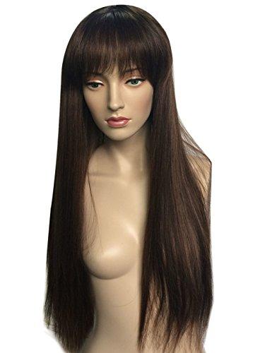 Namecute Schwarze Mischung braune Perücken lange gerade Perücke für Frauen mit vollem (Perücke Braune Lange)