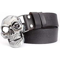 Ddcjc Cinturón de calavera para hombre, de cuero