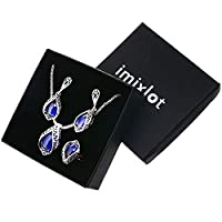 Imixlot Retro Blue Bead Crystal Pendant Necklace Earring Ring Wedding Accessories Jewelry Sets