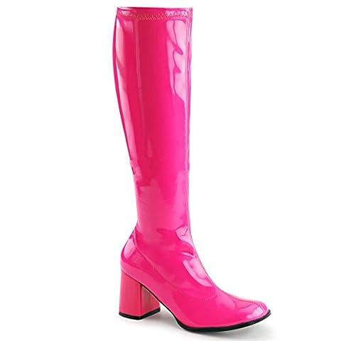 Funtasma Gogo-300UV sexy High Heels Stretch Stiefel Neon Hot Pink Komfort Heel 35-48 Übergröße Karneval Fasching Halloween Kostüm, Größe:EU-45 / US-14 / (Elf Kostüm Uk)