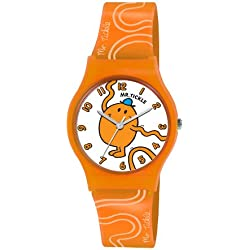 Mr Men and Little Miss Boy's Quartz Watch with White Dial Analogue Display and Orange PU Strap LM0007