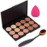 Westeng El corrector de color 15 + Esponja Maquillaje Fundación Puff + Sombra de ojos Cepillo