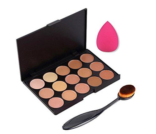 Hosaire 15 Farben Concealer Palette Set + Pro Kosmetik Make-up Face Powder Zahnbürste Oval Curve Foundation Pinsel + 1 pc Trocken Nass Verwendung Drop Schwämme Puff (Unsichtbare Concealer Creme)