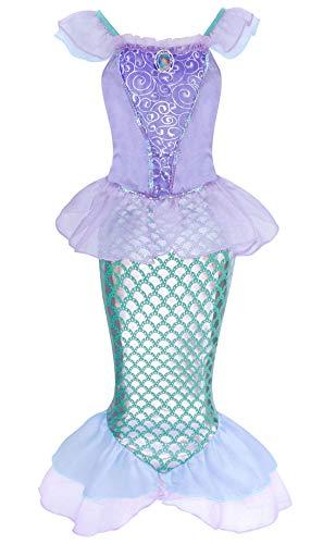 AmzBarley Meerjungfrau Kostüm Kleid Kinder Mädchen Ariel Kostüme Prinzessin Kleider Abendkleid Halloween Cosplay Verrücktes Kleid Geburtstag Party Ankleiden,Lila,7-8 Jahre (140)