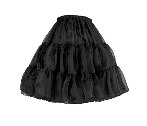 "Flora 50s Rock n Roll Hoopless Short Skirt/Fancy Tutu Petticoat,18"" Length (EU 42-50 (L-XXL), schwarz)"