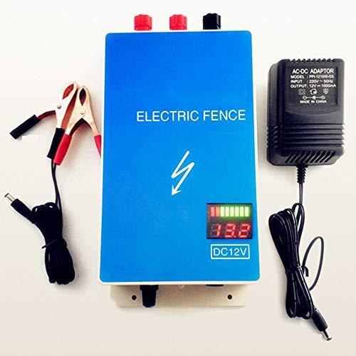 wansosuper 12V Elektrischer Zaun,Ranch Zaun Schafe Elektrozaun,Booster FüR Sicherheits-Elektrozaun,Geeignet FüR Lange ElektrozäUne Und Viehzucht,Blue-Standard -