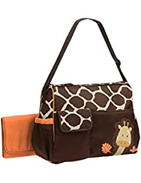 Windaze LLC 3 Pieces Large Capacity Waterproof Giraffe Print Mummy Diaper Bag Totes With Changing Mat (Orange)