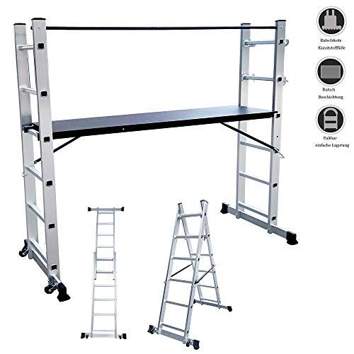 HENGMEI Alu Multigerüst Alu Leiter Arbeitsgerüst Arbeitsplattform Gerüst Leiter Treppenleiter bis 150 kg belastbar