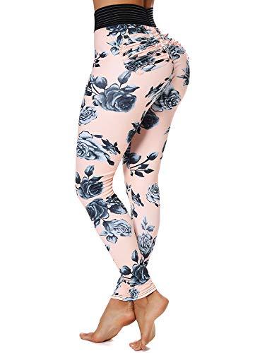 INSTINNCT Damen Hohe Taille Doppeltaschen Sport Leggings Strumpfhose Jogginghose Tights mit Säckel #2 Blumen (Beige) XL -