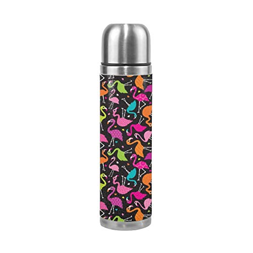 Pads bag Flamingo Summer Colorful Tropical Birds Retro Girls Print Black 17 Oz(500ML) Double Layer Leak-Proof Stainless Steel Vacuum Insulated Water Bottle