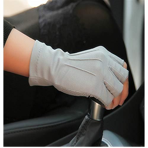 Ywlanlantrading Handschuh Unisex-UV-Schutz, schweißabsorbierende und atmungsaktive Fingerlose Anglerhandschuhe (Color : Gray, Size : S-Five Pairs)