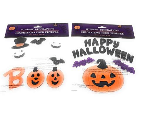 Halloween Ghost Fledermaus Kürbis Aufkleber Fenster-Gel-Klammern - 2er-Pack - Enthält 29 Stück (Halloween Fenster Aufkleber)