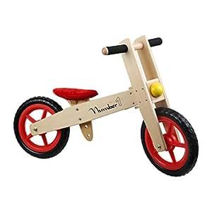 """Small Foot by Legler Laufrad """"Number 1"""" aus Holz, super stabiles Leichtgewicht, mit Gummireifen und verstellbarer Höhe, schult das Gleichgewicht, für junge Rennfahrer ab 3 Jahren"""