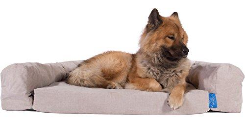 Taschenfederkern Orthopädisches Hundebett mit KuschelRand und Matratzenschoner - ( Groß ) - Nerzfarben