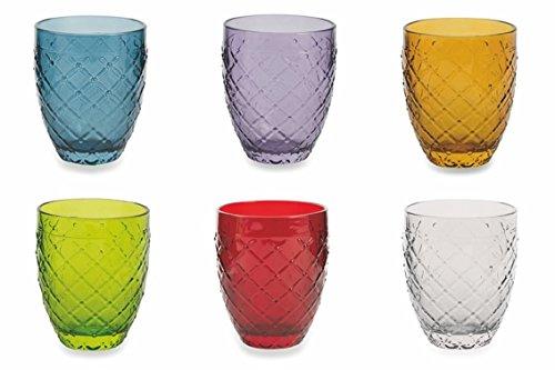 Villa d'Este Home Tivoli Rombi Wassergläser-Set, Mehrfarbig, 6Stück Farbige Gläser