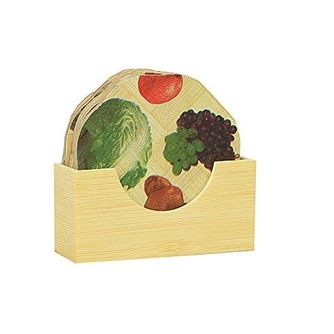 kuwer Industries Bambus Untersetzer Wärme Pad in Oval Form Fruit Design, 9,5* 9,5cm, 6Stück Set–ki3421