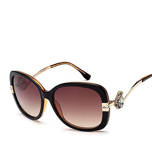 Easy Go Shopping Damenmode polarisierten Sonnenbrillen, Klassische Vintage-Design-Stil Sonnenbrillen Sonnenbrillen und Flacher Spiegel (Farbe : Black/Brown)