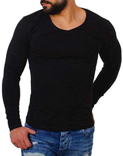 Großer Mann-shirt (Young&Rich Herren Longsleeve Tiefer V-Ausschnitt Langarm Shirt Einfarbig Slimfit mit Stretchanteilen Uni Basic Deep V-Neck Tee, Grösse:XXL;Farbe:Schwarz)