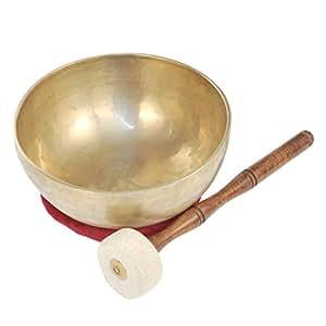 Klangschale XXL, extra-groß, Ø ca. 24cm, traditionell mit Filzklöppel und weinrotem Kissen, für Meditation, Klangtherapie, Klangmassage