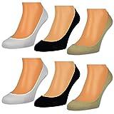6 Paar Damen Füßlinge Unsichtbare Sneaker Socken Baumwolle Schwarz Weiße Beige - RS 15500 (35-38, 6 Paar | Farbmix)