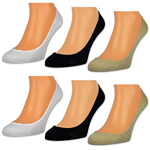 sockenkauf24 6 Paar Damen Füßlinge Unsichtbare Sneaker Socken Baumwolle Schwarz Weiße Beige oder Farbmix - RS 15500