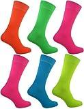 WOH - Chaussettes modèles homme garçon 5 pack de 5 couleur fluo Rock N Roll fête EU 39-46